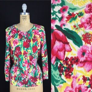 Watercolor Floral 3/4 Sleeve Charming Cardigan S